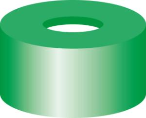 Snap ring closure, N 11, PE(hard), green,center hole, Silicone white/PTFE red,1,0 mm