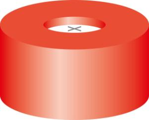 Snap ring closure, N11, PE(hard), red, centre hole,silicone w./PTFE blue,cross-slit,1,0 mm