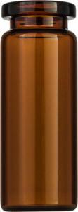 Crimp neck vial, N 20, 20,5×54,5 mm, 10,0 ml, flat bottom, flat neck, amber