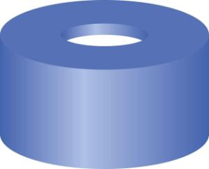 Snap ring closure, N 11, PE(hard), blue, center hole, Silicone white/PTFE red,1,0 mm