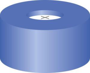 Snap ring closure, N 11,PE(hard),blue, centre hole, cross-slit, 1,0 mm