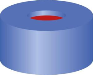 Snap ring closure, N 11,PE(hard),blue,centre hole,PTFE red/Silicone white/PTFE red,1,0 mm