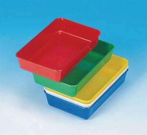 Laboratory trays, coloured